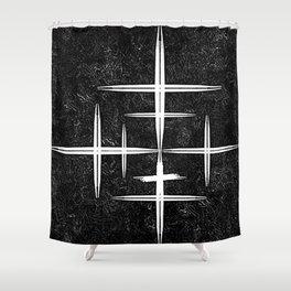 Black and White Hop Scotch Cris Cross Shower Curtain