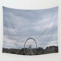 ferris wheel Wall Tapestries featuring Ferris Wheel by M. Gold Photography