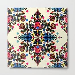 Bright Folk Art Pattern - hot pink, orange, blue & green Metal Print