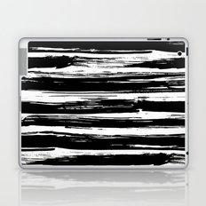 Paint Brush Stripes Black and White Laptop & iPad Skin