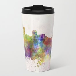 Des Moines skyline in watercolor background Travel Mug