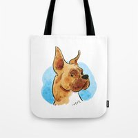 boxer Tote Bags featuring Boxer by Renee Kurilla