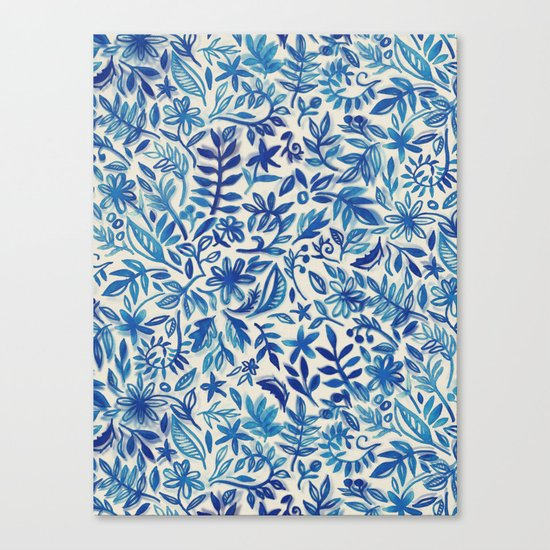Floating Garden - a watercolor pattern in blue Canvas Print