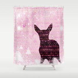 Rehkitz Pattern-Art in Snowland Shower Curtain