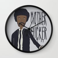 pulp fiction Wall Clocks featuring Pulp Fiction by Molnár Roland