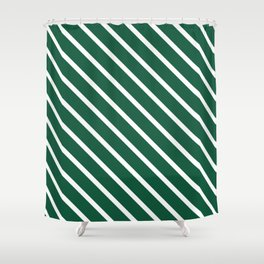 Teal The World (Green) Diagonal Stripes Shower Curtain