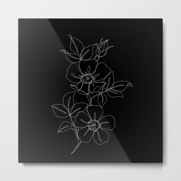 Botanical illustration one line drawing - Rose Black Metal Print