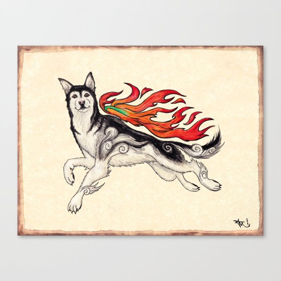 Marukomu Inukami ~ Ōkami inspired husky dog, watercolor & ink, 2015 Canvas Print