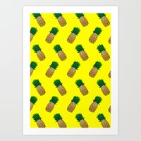 pineapples Art Prints featuring Pineapples by Ella Lama