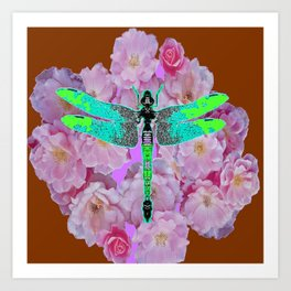 EMERALD DRAGONFLY PINK ROSES COFFEE BROWN Art Print