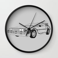 delorean Wall Clocks featuring DeLorean DMC-12 by Martin Lucas