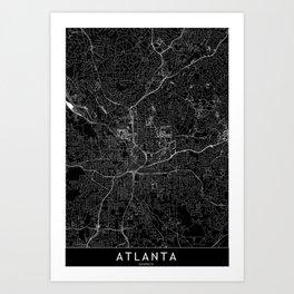 Atlanta Black Map Art Print