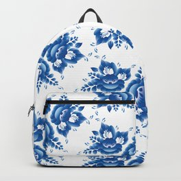 Vintage shabby Chic Seamless pattern with blue flowers and leaves. Vector Backpack