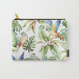 Palm Monstera Leaves Pattern With Birds Carry-All Pouch