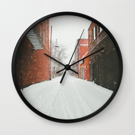 Montréal Snowstorm in alley Wall Clock