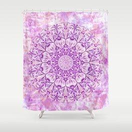 Lavender & Lilac Watercolor Mandala , Relaxation & Meditation Circle Pattern Shower Curtain