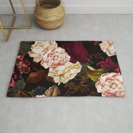 Vintage & Shabby Chic - Midnight Rose and Peony Garden Rug