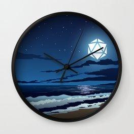 Beach Moonlight D20 Dice Moon Ocean Tabletop RPG Landscapes Wall Clock