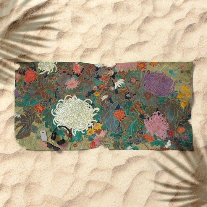 flower【Japanese painting】 Beach Towel