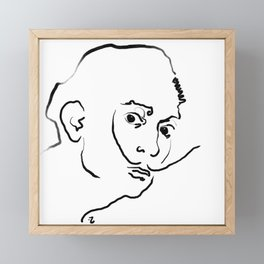 Ink Drawing Portrait - Salvador Dali Framed Mini Art Print