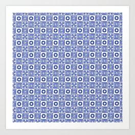 Lines and Shapes - Dutch Blue Art Print