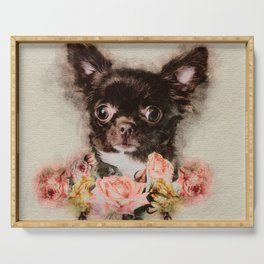 Chihuahua puppy sketch Serving Tray