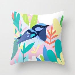 Superb Fairy-Wren Bird in the Garden Throw Pillow