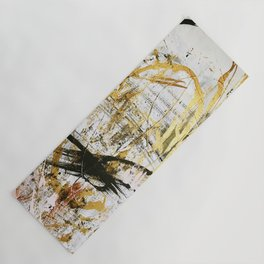 Armor [9]:a bright, interesting abstract piece in gold, pink, black and white Yoga Mat
