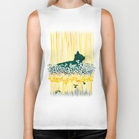 clover Biker Tanks featuring Clover Cat by Priscilla Moore