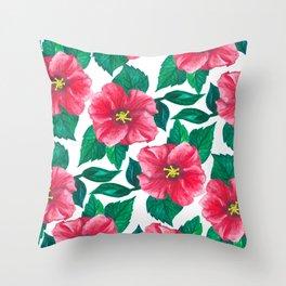 Pink Hibiscus Pattern Throw Pillow