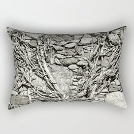 Rustic wall with granite and old roots Rectangular Pillow
