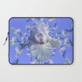 BLUE-WHITE IRIS ABSTRACT PATTERN Laptop Sleeve