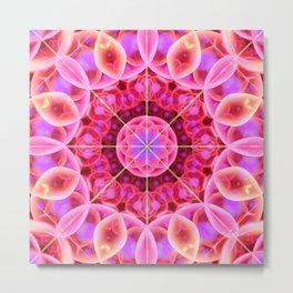 Pink and Violet Healing Mandala Metal Print