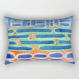 Blue Shapes Pattern Rectangular Pillow