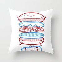 street Throw Pillows featuring Street burger  by SpazioC