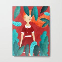Orange hair girl Metal Print