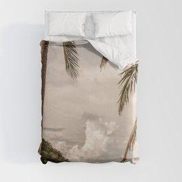 Beach theme, palm trees on tropical island Duvet Cover