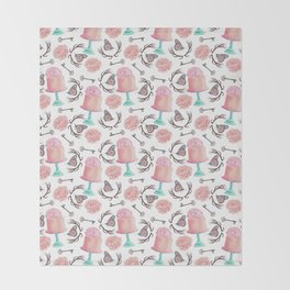 Rose pink coral flowers butterfly bohemian deer antlers Throw Blanket