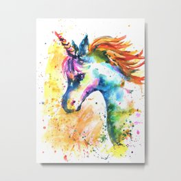 Unicorn Splash Metal Print