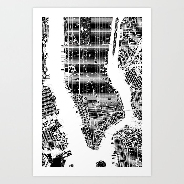 New York Map Black And White.New York City Map Black And White Art Print By Planosurbanos Society6