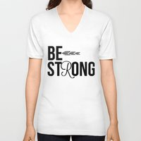 strong V-neck T-shirts featuring Strong by Hoeroine