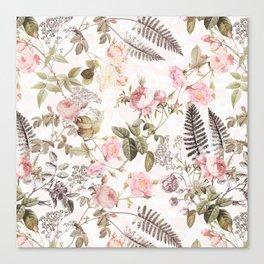 Vintage & Shabby Chic - Blush Roses and Fern Leaf Canvas Print