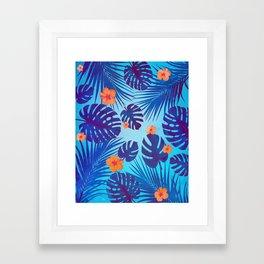 Monstera leaves in the midnight summer Framed Art Print