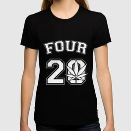Four 20 420 Pot Leaf Weed Marijuana Ganja High Toke Smoke Juniors Weed T-Shirts T-shirt