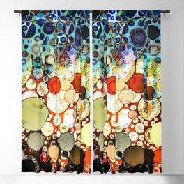 Abstract Retro Blue Orange Bubble Design Blackout Curtain