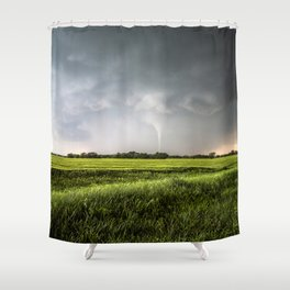 White Tornado - Twister Emerges from Rain Over Field in Kansas Shower Curtain