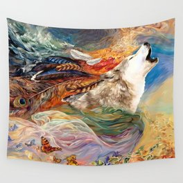 The spirit Wolf Abstract Wall Tapestry