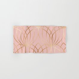 Rose gold millennial pink blooms Hand & Bath Towel