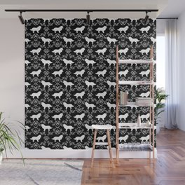 Border Collie silhouette minimal floral florals dog breed pet pattern black and white Wall Mural