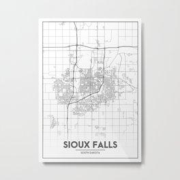 Minimal City Maps - Map Of Sioux Falls, South Dakota, United States Metal Print